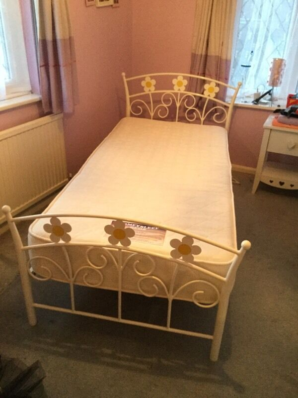 White steel single bed with mattress for sale in for White beds for sale