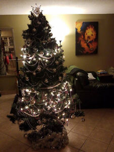 6.5 ft Artificial Christmas Tree with Tree Decorations!