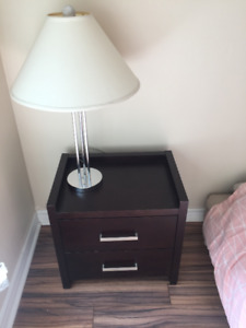 BEDSIDE TABLE WITH LAMP (Mahogany rosewood), 2 drawers
