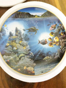 mint gold Nelson hawaii Underwater Paradise Plate turtle fish