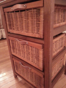 Rattan Table with 3 Drawers