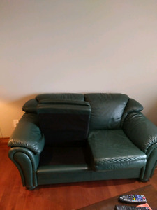 Hunter Green leather couch