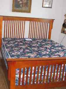 Solid Wood Queen Size Bed Frame & Night Stand