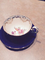 Aynsley Cobalt (navy blue) Cup and Saucer -gold with flowers