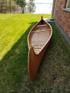 Beautiful hand crafted cedar strip canoe
