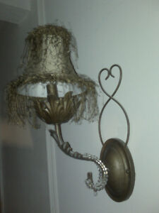 Pair of Wall Sconces with Lamp Shades