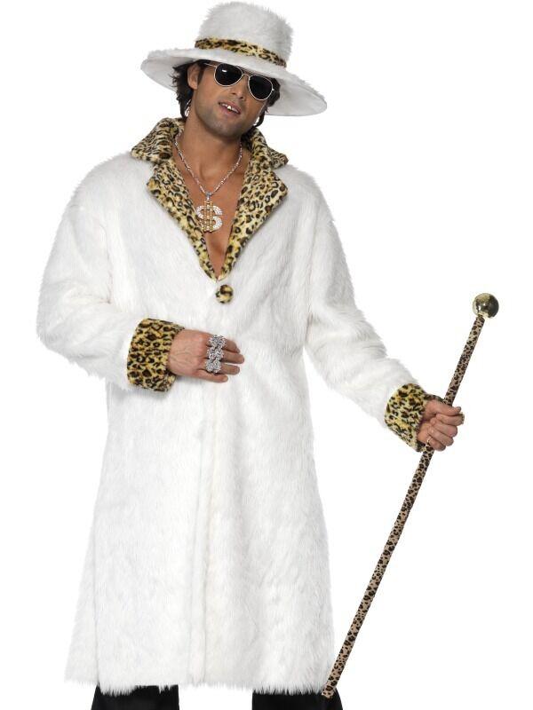 PIMP GANGSTER 1970/'S-1980/'S ANIMAL COAT /& HAT FANCY DRESS COSTUME SIZES L-XXXXL