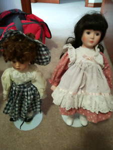 Porcelain dolls small and large