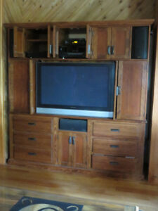 Custom-Made wood Entertainment Cabinet, TV, DVD Player, Receiver