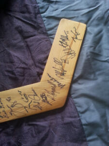 Signed old timers hockey stick including Doug Gilmore