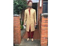 Men's sherwani red and gold 38R
