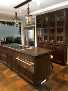 Kitchen cabinets and soapstone countertop