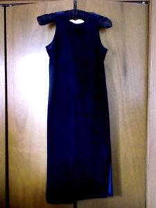 womens S/girls L navy velveteen sheath dress