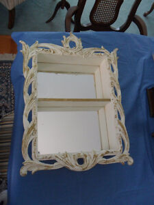 Antique White and Gold Wood Decorative Display Unit