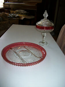 Vintage Ruby Red Diamond Point Cut Glass Set Regina Regina Area image 1