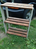 solid wood constructed shelving unit