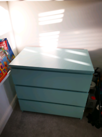 Malm light blue 3 drawer chest IKEA