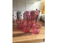 Large heavy pink glass jug & tumblers