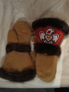 Leather Beaded Ojibwe Mitts