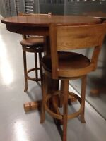 Solid oak Bar style table and chairs