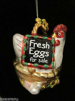 BLOWN GLASS FRESH EGGS FOR SALE~STAND~CHICKEN~HEN~FARM~CHRISTMAS ORNAMENT~NWT (Christmas Ornaments For Sale)