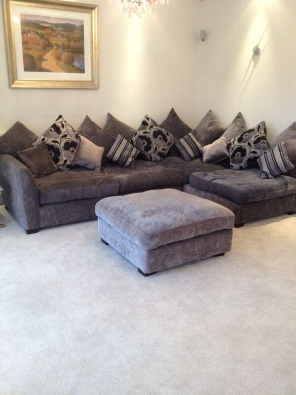 L Shaped Sofa Grey/Blue