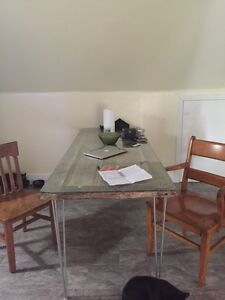 Antique kitchen table and 2 chairs
