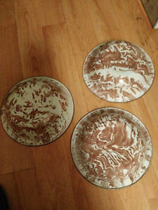 "Vintage brown and white 9 1/2"" enamelware bowls set of 3 London Ontario image 2"