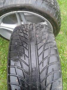 "Set of 4-215/40/17"" Tires on aluminum rims rims LOTS of tread"