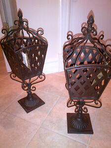 Cast Iron Outdoor or Indoor Candle Lanterns NEW NEVER USED