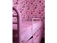 NEXT high sleeper bed with playhouse curtain. Mattress not included. ��75 ONO