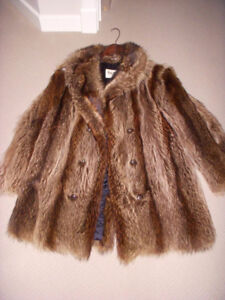 Raccoon Fur coat and Matching Hat $100.00