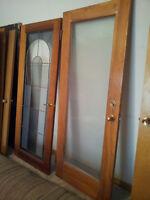Door Solid Wood Glass Panel Door