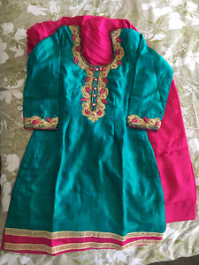 Fully Embroidered Pure Silk Indian Outfit