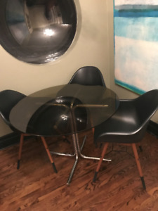 Retro Glass Table Set with Chrome legs / Includes 4 chairs