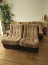 Mid century Corduroy modular Sofa lounge Chairs 1970's