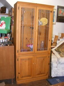 SOLID PINE CHINA CABINET/ BOOKCASE - storage / display