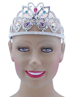 Butterfly Tiara Adult Fancy Dress Fairytale Accessory Girls Silver Jewels (Butterfly Girl Kostüm)