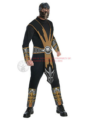 Adult Licensed Mortal Kombat Scorpion Fancy Dress Costume Ninja Samurai Mens BN