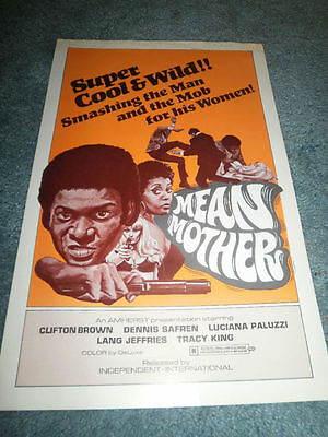 MEAN MOTHER(1974)CLIFTON BROWN ORIGINAL PRESSBOOK MINT