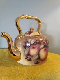 Large hand painted vintage ceramic kettle.