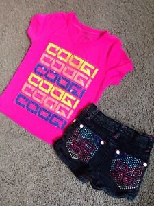 Coogi Sequined Tshirt and Jewel studded Jean Shorts Sz4