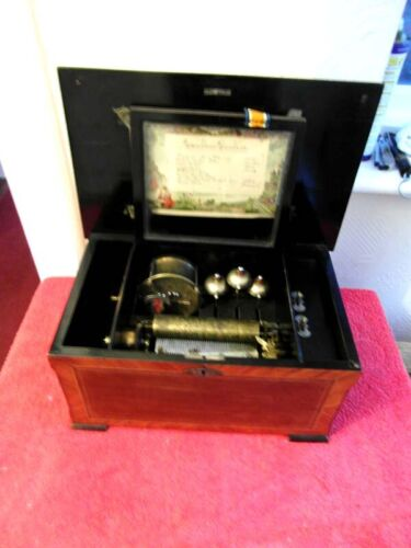 Superb Victorian Inlaid Music Box With Bells And Drum