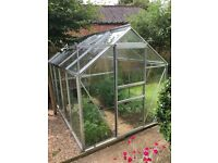 Aluminium 8x6 glass greenhouse with steel base