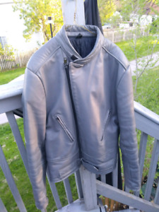Grey Motorcyle leather jacket