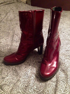 Red Leather Stewart Weitzman Ankle Booties