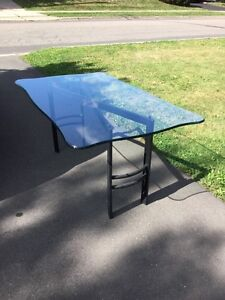 Glass Top Table  Desk with black metal base