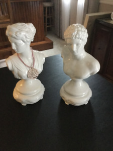 Ceramic male and female heads for home decor