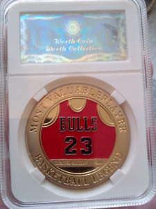 Large 40mm Michael Jordan Most Valuable Player Gold Plated Coin.