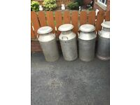 MILK CHURNS FULL SIZE. WITH LIDS. 55 pounds